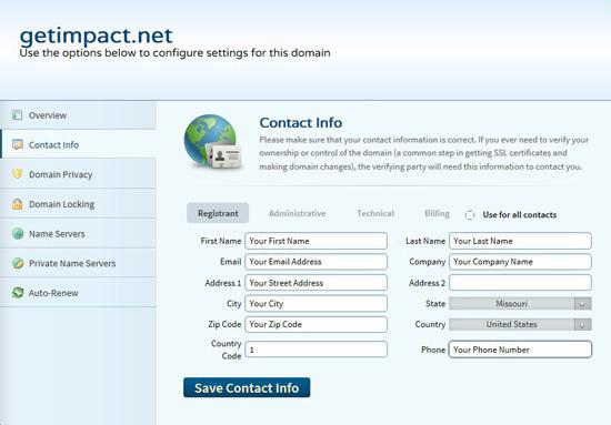 Domain Name Contact Info