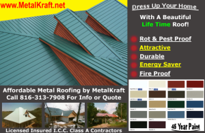 advertising graphics that shows green metal roof and small business ad for metal roofing