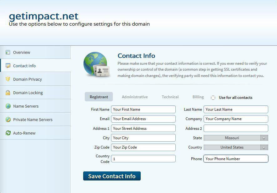 Contact info for domain name setup