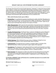 Image of a Legal Domain Name Transfer Agreement Document