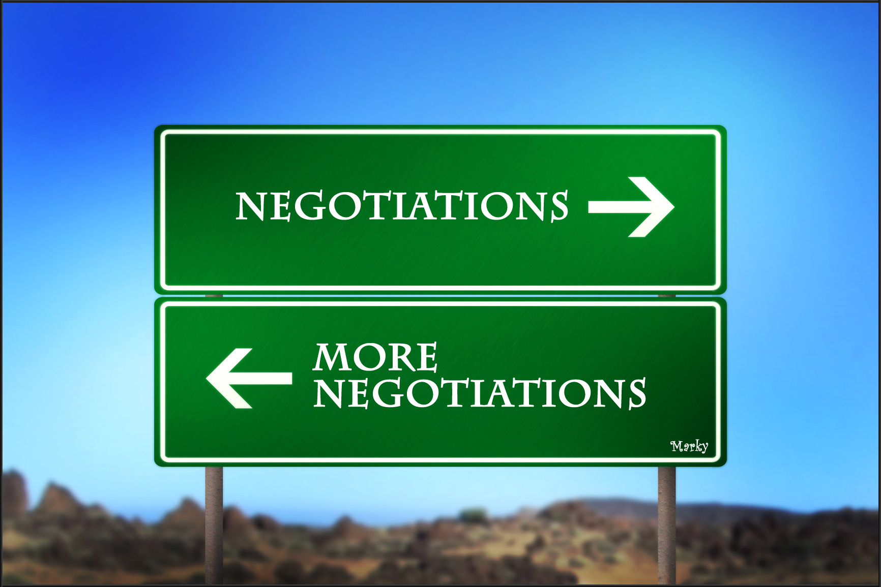 Road sign with arrows pointing and text that says negotiations and more negotiations