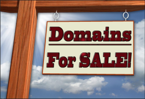 For sale sign with sky background and the sign says Domains For SALE!