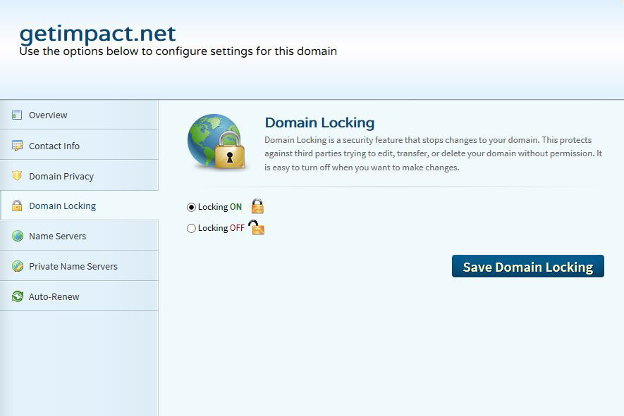 Domain locking feature shown in GUI