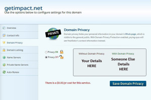 Domain privacy settings GUI