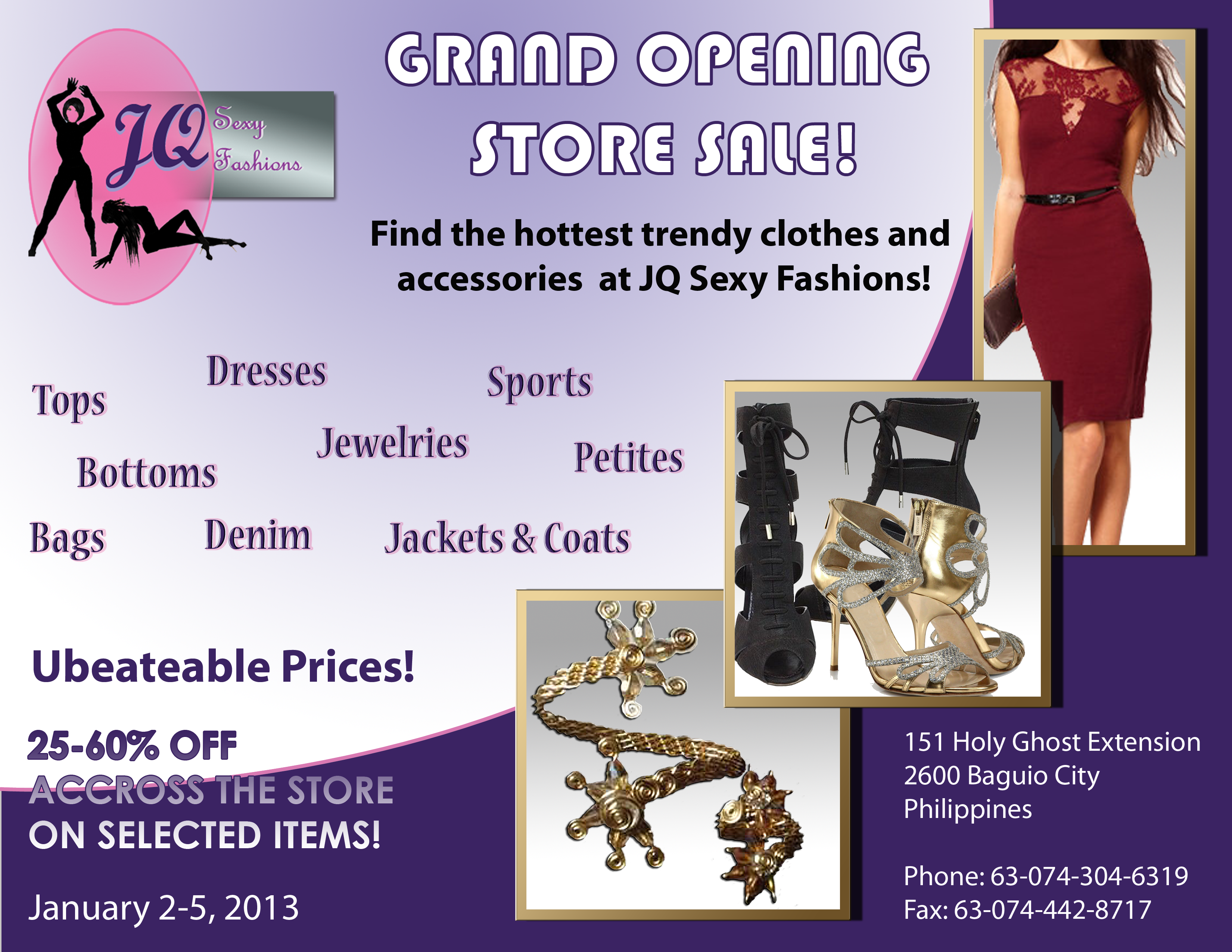 grand opening advertising flyer for clothing retailer impact advertising artwork purple background misc text and embedded photos of clothing items