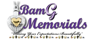 bamg memorials logo design that uses a purple, black and gray color palette
