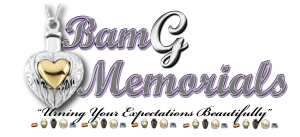 BamG Memorials logo using a purple and light gray color scheme