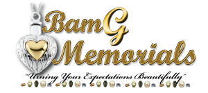 This is a yellow, black and gray logo design for BamG Memorials