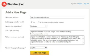 Add Pages At StumbleUpon