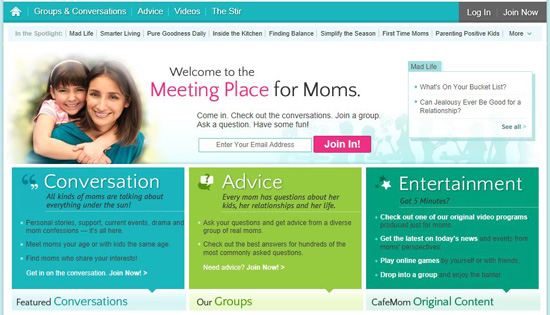Cafe Mom Home Page
