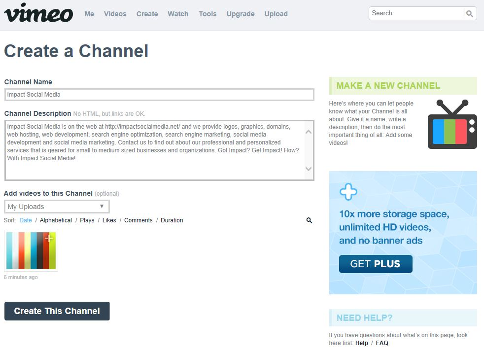 Creating Channels At Vimeo