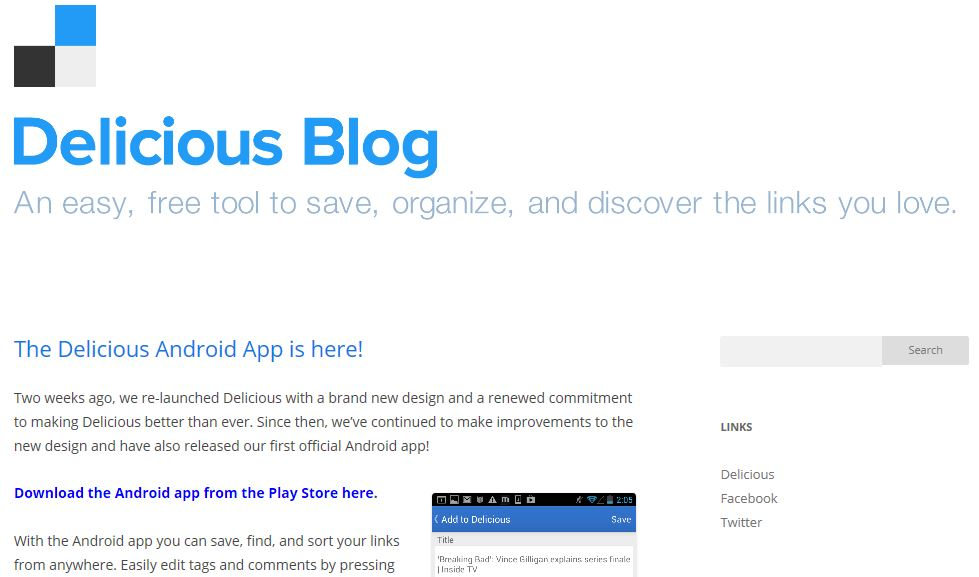 Delicious Blog Page
