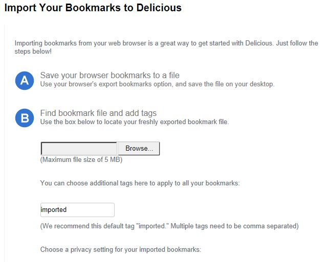 Delicious Import Bookmarks Feature