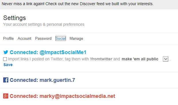 Delicious Social Media Integration