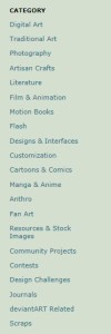 Deviantart Categories