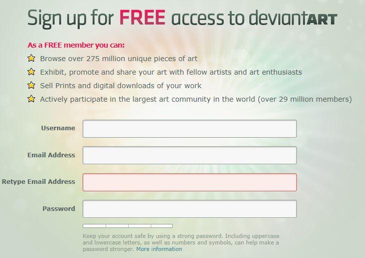 Deviantart Signup