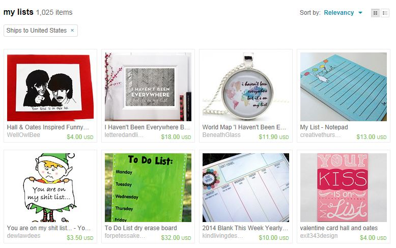 Etsy Lists