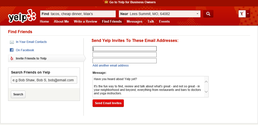 Find And Add Friends On Yelp
