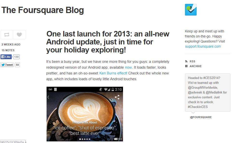 Foursquare Blog Page