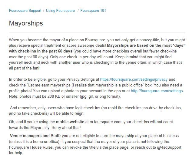 Foursquare Mayorship Status