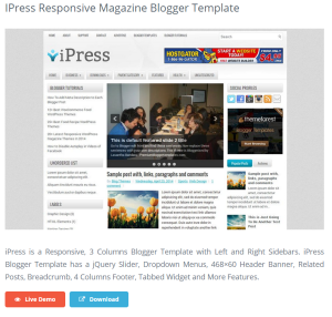 Ipress Responsive Magazine Blogger Template