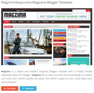 Magzima Responsive Magazine Blogger Template