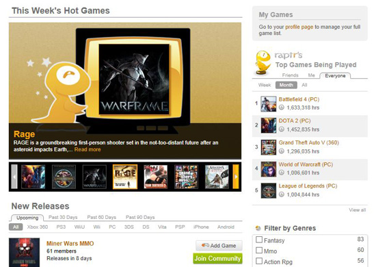 Raptr Hot Games New Releases Top Played