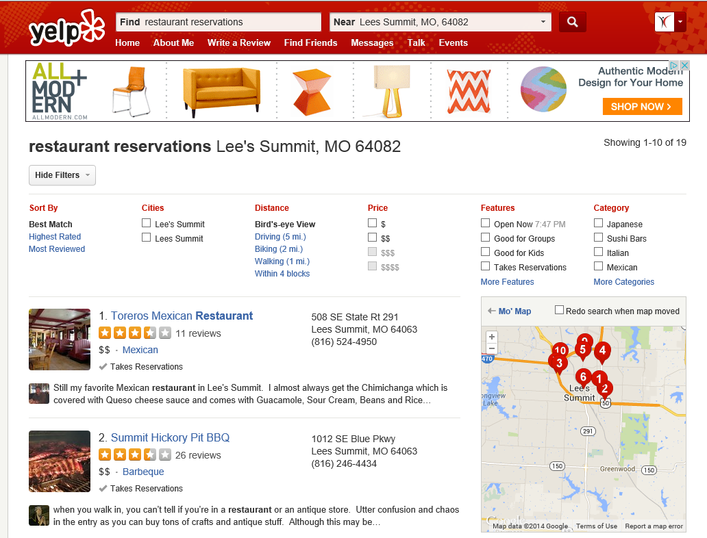 Restaurant Reservations With Yelp