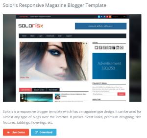 Soloris Responsive Magazine Blogger Template