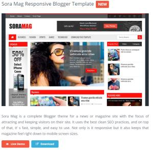 Sora Mag Responsive Blogger Template