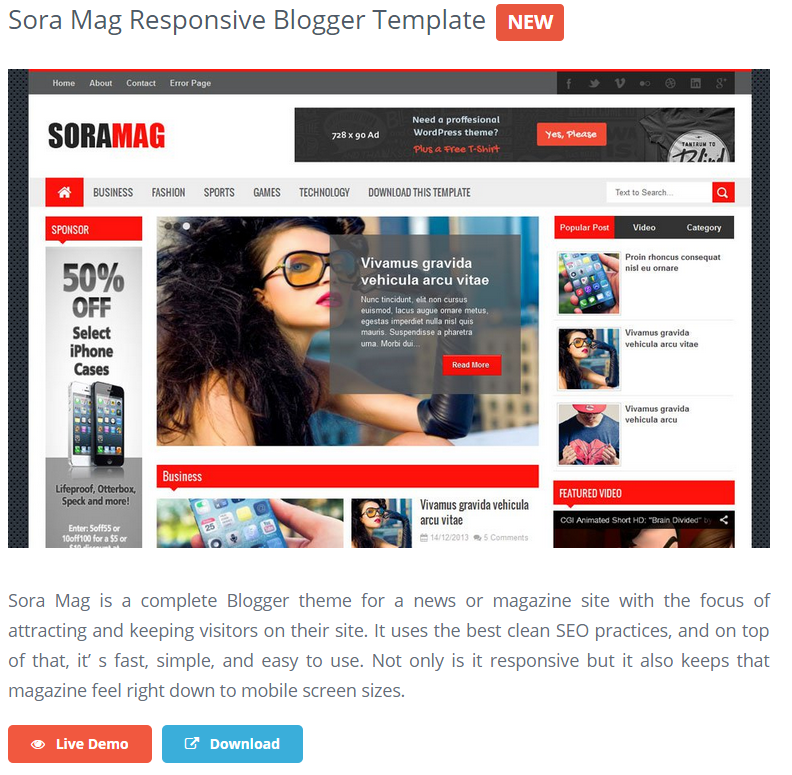 Sora Mag Responsive Blogger Template