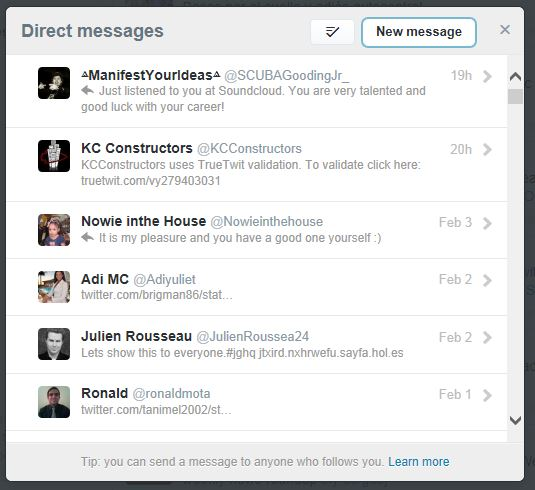 how to delete direct messages on twitter