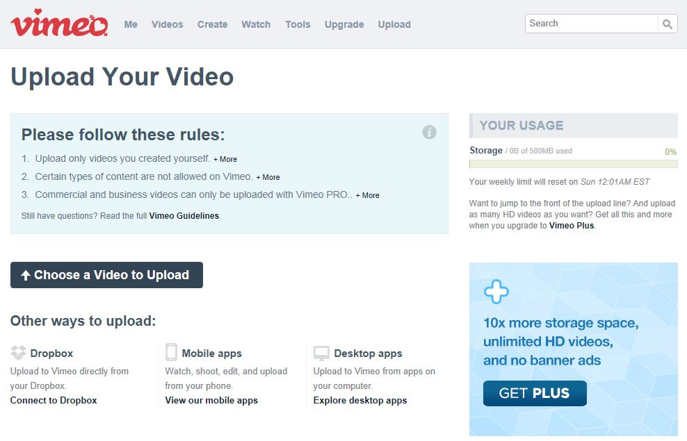 Vimeo Easy To Use Video Uploads