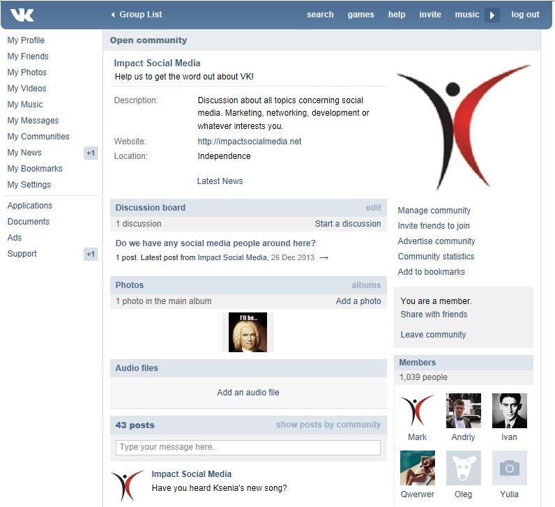 Vkontakte Community Group