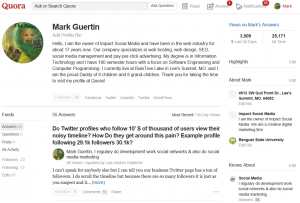Use Quora to show your expertise on topics